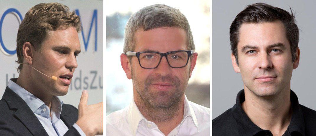 Erik Podzuweit von Scalable Capital, André Bajorat von figo und Nicholas Ziegert von Ownley (v. li.) haben den offenen Brief der Fintech-Unternehmer mit unterzeichnet.