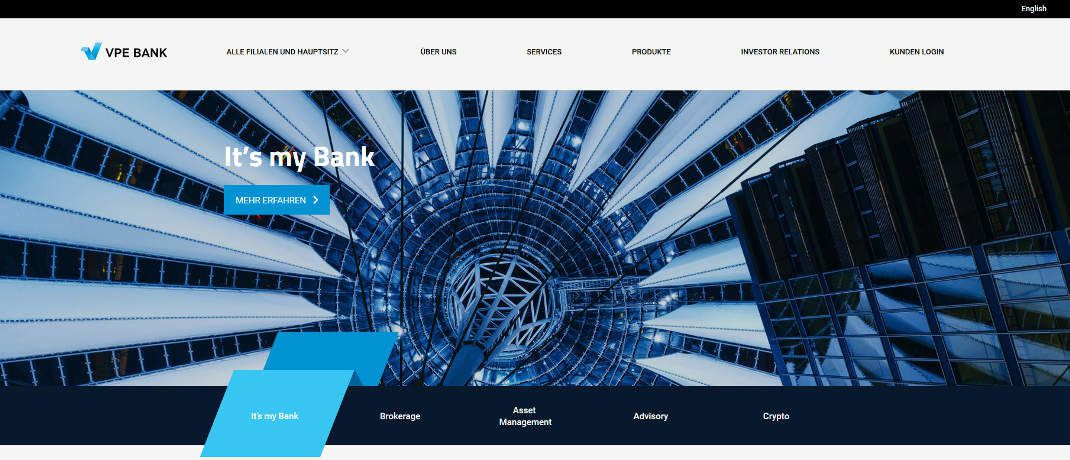 Startseite der VPE-Bank|© Screenshot, DAS INVESTMENT