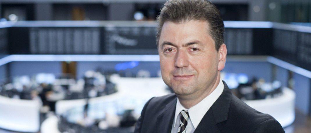 Robert Halver an der Frankfurter Börse: Ein steigender Ölpreis allein wird dem Börsenkenner zufolge den Bullenmarkt nicht stoppen.|© Baader Bank