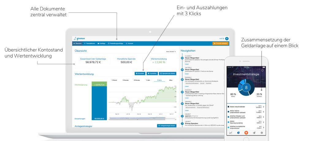Ginmon-Webseite (l.) und App: Die Frankfurter Betreiber des Fintechs zur Online-Vermögensverwaltung verwahren ETF-Kundenportfolios in Depots ihrer Partnerbank DAB BNP Paribas.|© Ginmon
