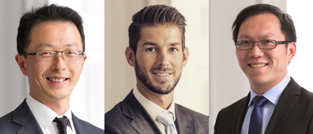 Eddie Cheng, Stephane Renevier und Chenfei Ma (v. li.) sind neu im Multi-Asset-Team von Wells Fargo AM.|© WFAM