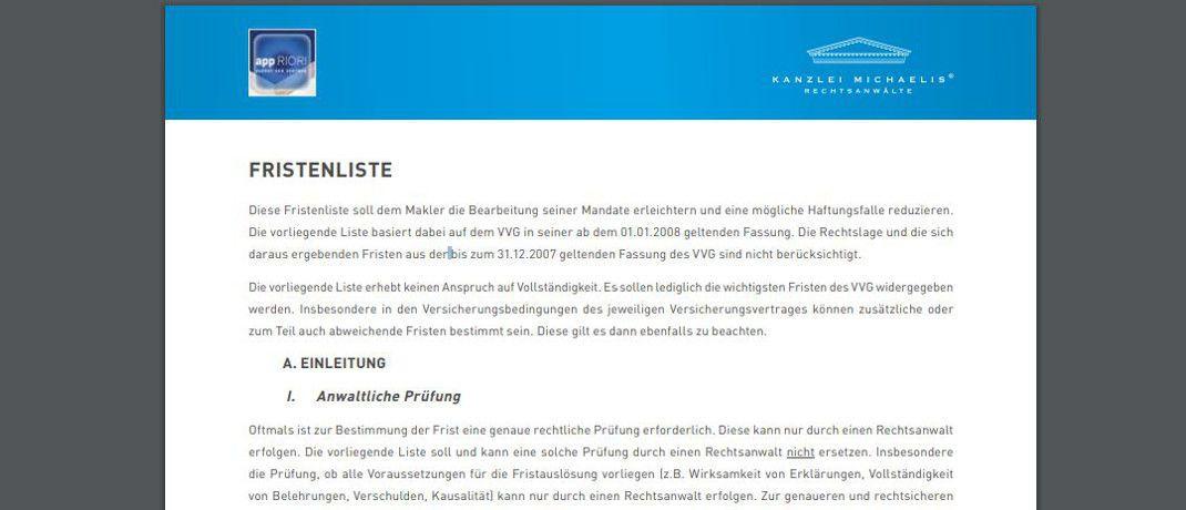 Screenshot des Pdf. Die auf Vermittlerrecht spezialisierte Rechtsanwaltskanzlei Michaelis hat eine Liste für Versicherungsvermittler entworfen, mit deren Hilfe sich gesetzliche Fristen ablesen und dokumentieren lassen.|© Kanzlei Michaelis