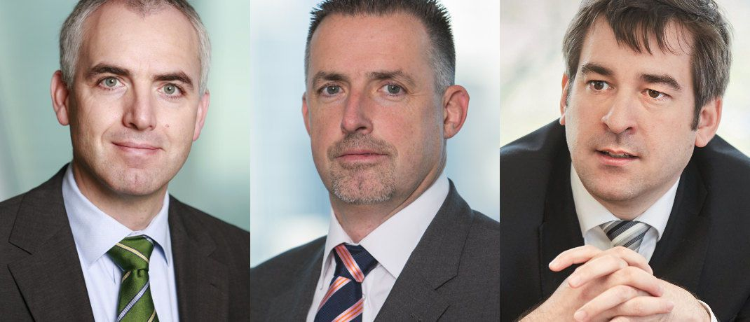 Andreas Mark, Thomas Jökel und René Gärtner |© Union Investment, Foto (r.): Piotr Banczerowski