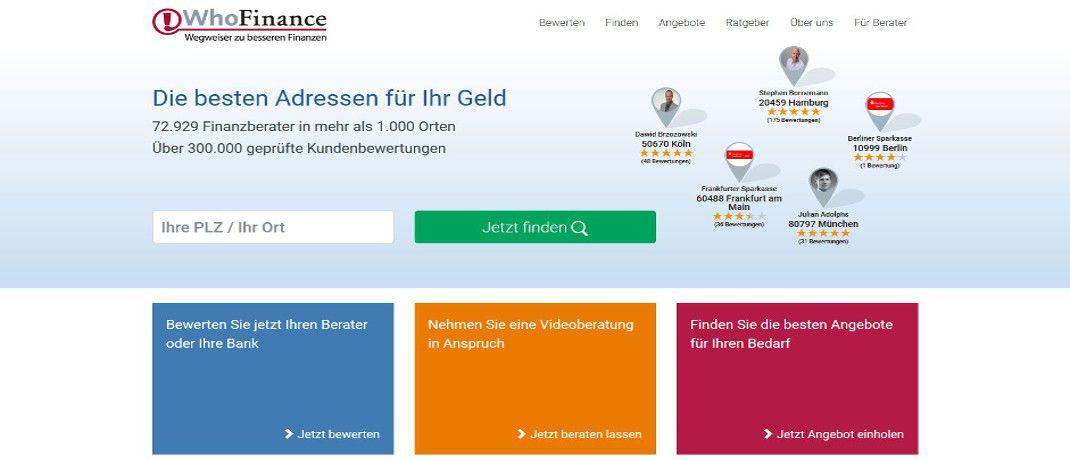 Screenshot der Internetseite von Whofinance. Auf der Plattform können Kunden ihren Finanzberater bewerten.|© WhoFinance