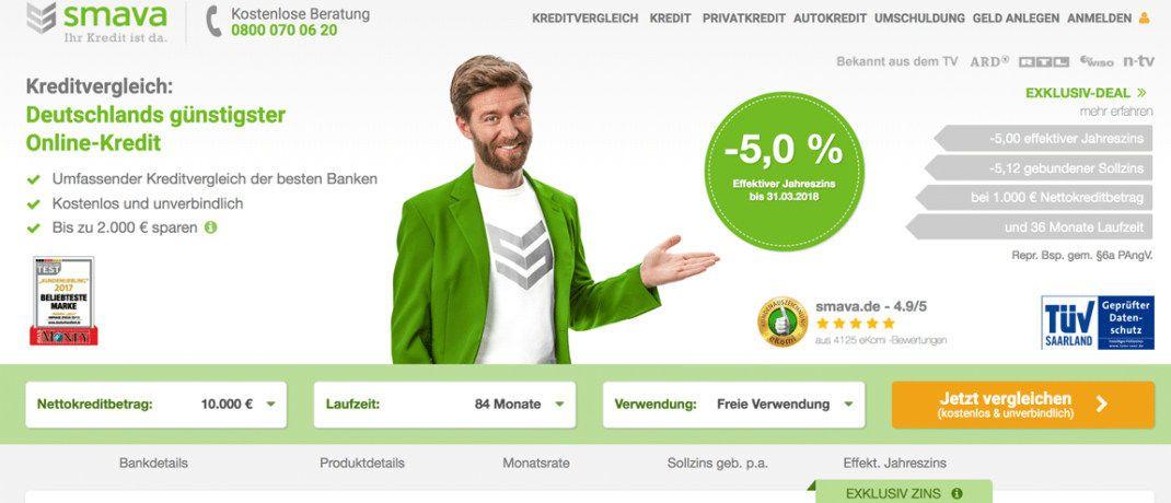 Screenshot der Smava-Website: Der Kreditvermittler wurde wegen irreführender Werbung abgemahnt.|© Smava