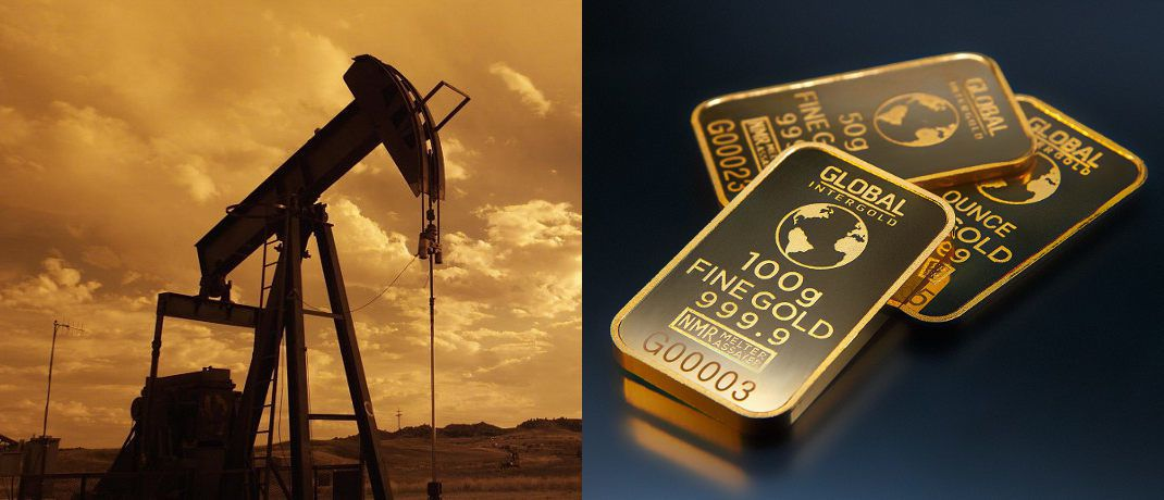 Ölpumpe und Goldmünze: Unterschiedlicher als aktuell könnte die Preisentwicklung am globalen Rohstoffmarkt kaum sein.  © pixabay.com; Michael Steinberg
