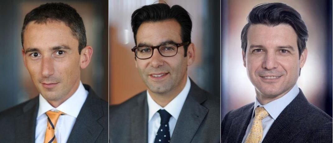 Laut der Multi-Asset Experten von Syz Adrien Pichoud (l.), Hartwig Kos und Fabrizio Quirighetti sind US-Aktien nicht unterbewertet – wenn man das Kurs-Wachstums-Verhältnis betrachtet.  © Syz Asset Management