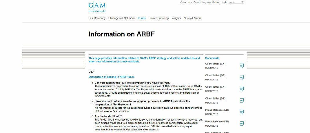 Auf dieser <a href='https://www.gam.com/en/information-on-arbf' target='_blank'>Internetseite</a> h&auml;lt GAM seine Anleger zu den Haywood-Fonds auf dem Laufenden&nbsp;|&nbsp;&copy; Screenshot, DAS INVESTMENT