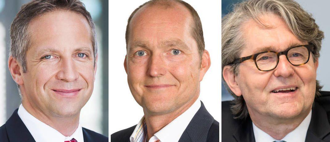 Maklerpool-Chefs (von links): Norbert Porazik, Karsten Dümmler, Uwe Schumacher|© Markus Kiener, Netfonds, Domcura