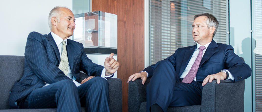 Kurt von Storch (l.) und Bert Flossbach: Der von ihnen gegründete Vermögensverwalter Flossbach von Storch schafft aktuell ein Comeback in die Top Ten der besten kleinen Fondsgesellschaften.|© Flossbach von Storch