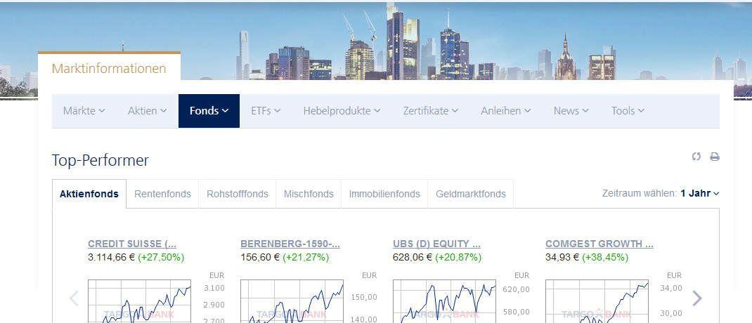 Webseite der Targobank: Das Unternehmen gewann den Test für Sparpläne in aktiv gemanagte Fonds|© Screenshot, DAS INVESTMENT