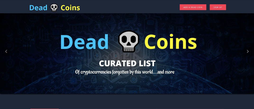 Startseite der Krypto-Leichenzähler-Seite Deadcoins.com|© Screenshot, DAS INVESTMENT