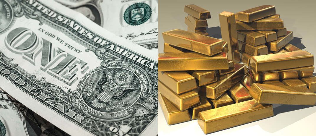 US-Dollar und Goldbarren | © Pixabay