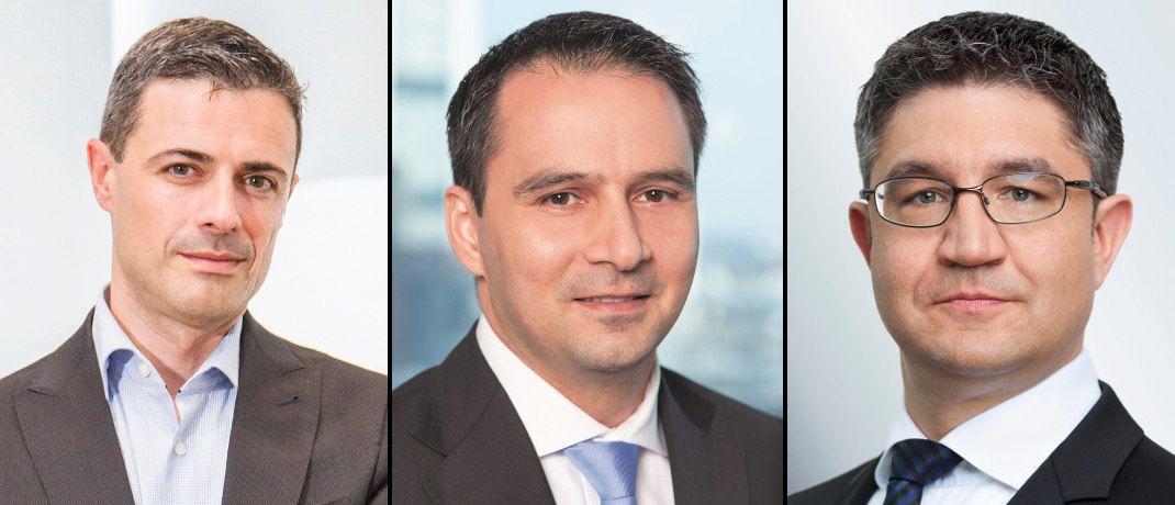 Drei Fondsmanager, die die Anlagepolitik in Fonds unseres Rankings verantworten: Maxcence-Louis Mormède vom Allianz Advanced Fixed Income Euro, Ikram Yaya vom Privatfonds:Kontrolliert und Christian Reiter vom Deutsche Floating Rate Notes (v. li. n. re.)