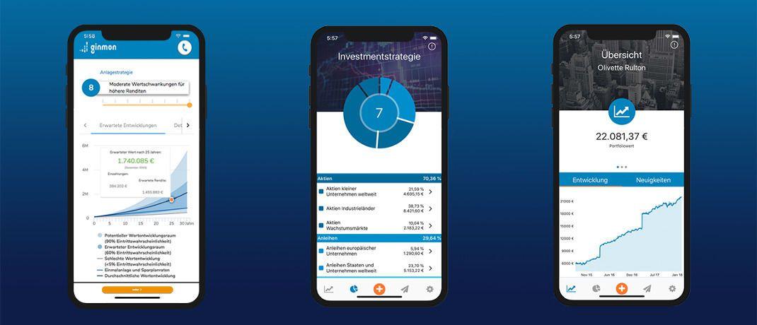 Screenshots der Ginmon-App: Der Robo-Advisor aus Frankfurt ist aktuell der Erstplatzierte im Echtgeldtest mehrerer digitaler Vermögensverwaltungen, die mithilfe automatisierter Prozesse und Algorithmen Portfolios zusammenstellen, überwachen und anpassen.|© Ginmon Vermögensverwaltung GmbH