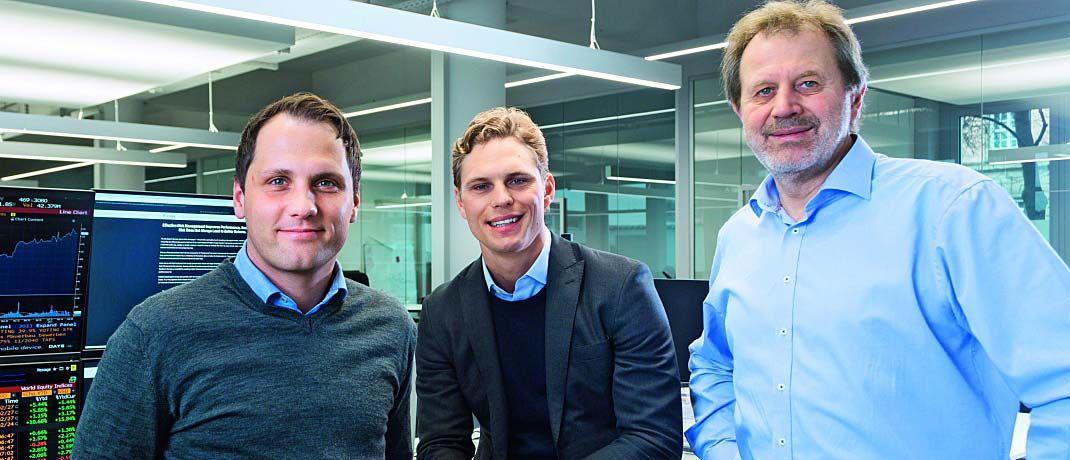 Die Gründer von Scalable Capital Florian Prucker (v.l.n.r.), Erik Podzuweit und Stefan Mittnik. |© Scalable Capital