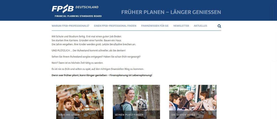Screenshot der Startseite des neuen Finanzblogs vom FPSB Deutschland: Die Seite ist seit Anfang Oktober am Netz..