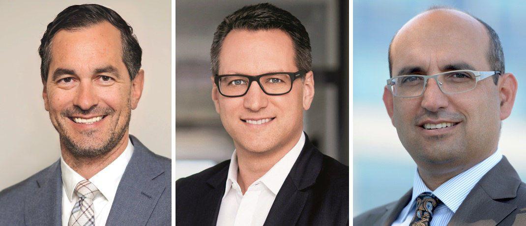 Maklerpoolchefs Martin Eberhard (Fondskonzept), Sebastian Grabmaier (JDC), Vermittler Antonio Sommese (Finanzstrategie Sommese), v.l. Viele Berater erschließen sich derzeit neue Vergütungswege und steigen auf Service-Fee-Modelle um. |© MLP