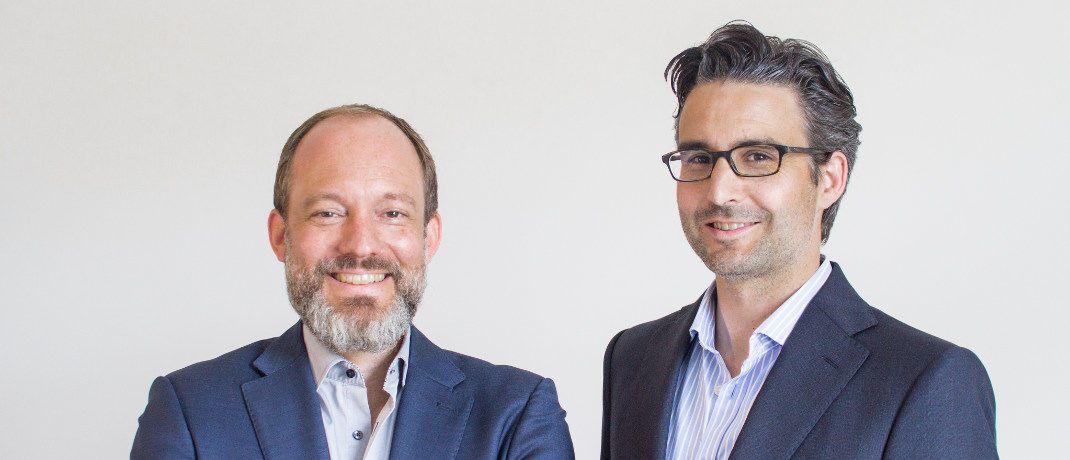Thomas Bloch (l.) und Oliver Vins: Die beiden Vaamo-Gründer werden Mitglieder des Executive Committees von Moneyfarm. Bloch verantwortet das Deutschland-Geschäft und den Ausbau des europaweiten B2B-Geschäfts von Moneyfarm. Vins wird bei Moneyfarm gruppenweit zuständig für die Themen Produkt-Management und –Entwicklung.|© Vaamo Finanz AG