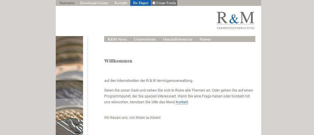 Internetauftritt der R&M Vermögensverwaltung. Das Unternehmen hat einer Vermögensverwaltungsstrategie in einen Fondsmantel gesteckt. |© R&M Vermögensverwaltung