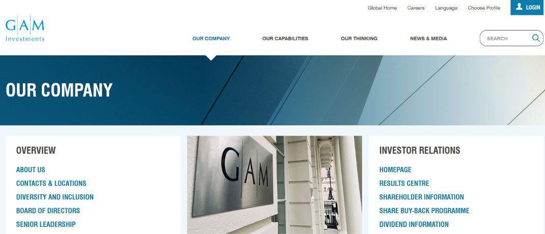 Screenshot der Homepage von GAM. Der Schweizer Asset Manager will 18 Investmentmanager entlassen.|© GAM