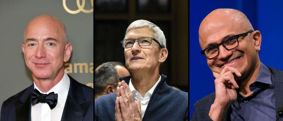 Unternehmenschefs (von links): Jeff Bezos, Amazon, Tim Cook, Apple, und Satya Nadella, Microsoft | © Getty Images