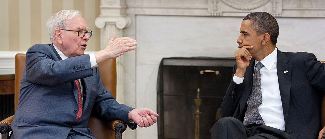 Warren Buffett (links) im Gespräch mit dem ehemaligen US-Präsidenten Barack Obama: Warren Buffett ist vermutlich der erfolgreichste Value-Investor aller Zeiten.|© Pixabay
