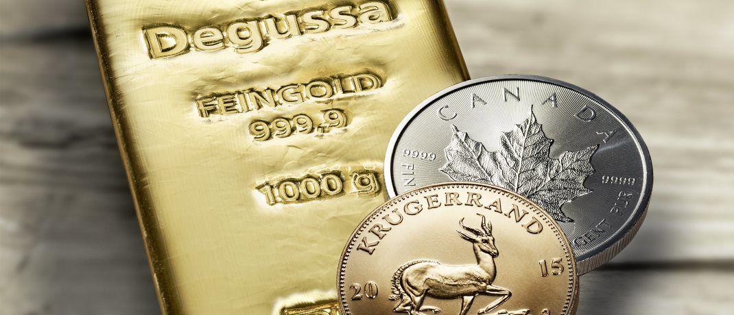 Goldbarren und -münzen: Gold beruhigt nicht nur die Nerven, sondern wirft in bestimmten Marktphasen auch ansehnliche Renditen ab.|© Degussa