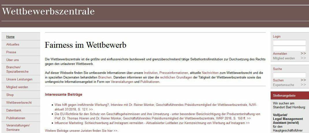 Internetseite der Wettbewerbszentrale, Screenshot. Die Wettbewerbszentrale geht im Auftrag der Bundesregierung wettbewerbsrechtlichen Verstößen auf den Grund.|© Wettbewerbszentrale