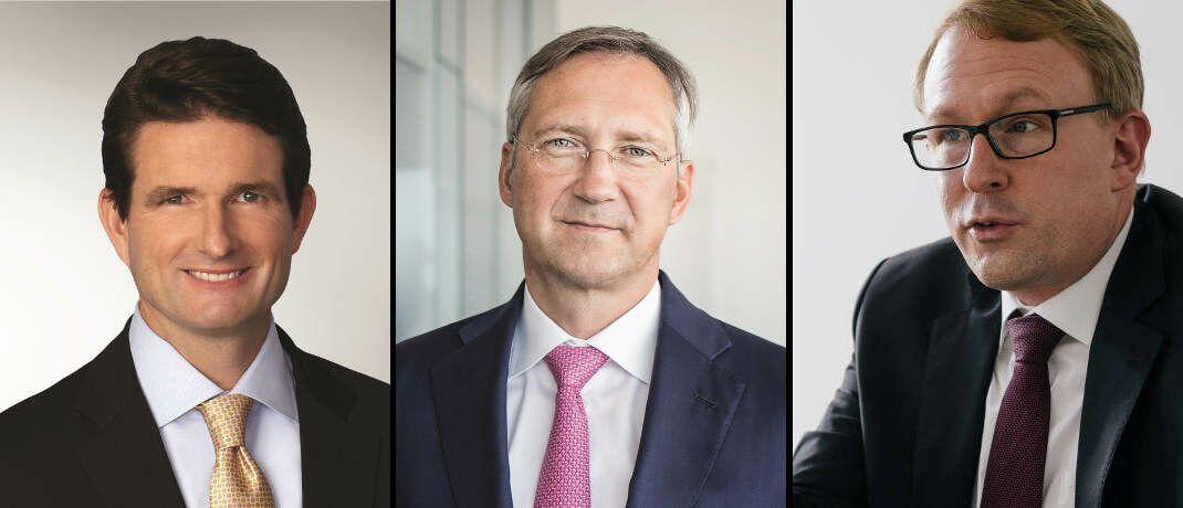Managen sehr beliebte Fonds (von links): Douglas Forsyth, AGI, Bert Flossbach, Flossbach von Storch, und Alexander Wagner, Union Investment|© AGI, FvS, Dirk Beichert