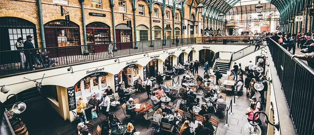 Die Markthallen am Londoner Covent Garden: Bei den regionalen Beteiligungen dominiert Großbritannien aktuell mit 25 Prozent.