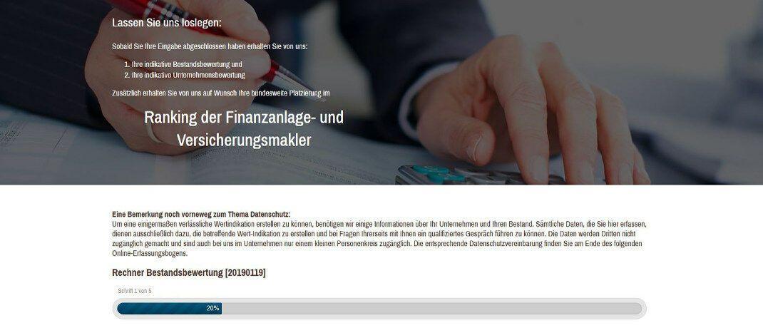 Sreenshot der Internetseite des Resultate Institut.  Das Beratungsunternehmen hat ein Online-Tool für die schnelle Bestandsbewertung programmiert. |© Resultate