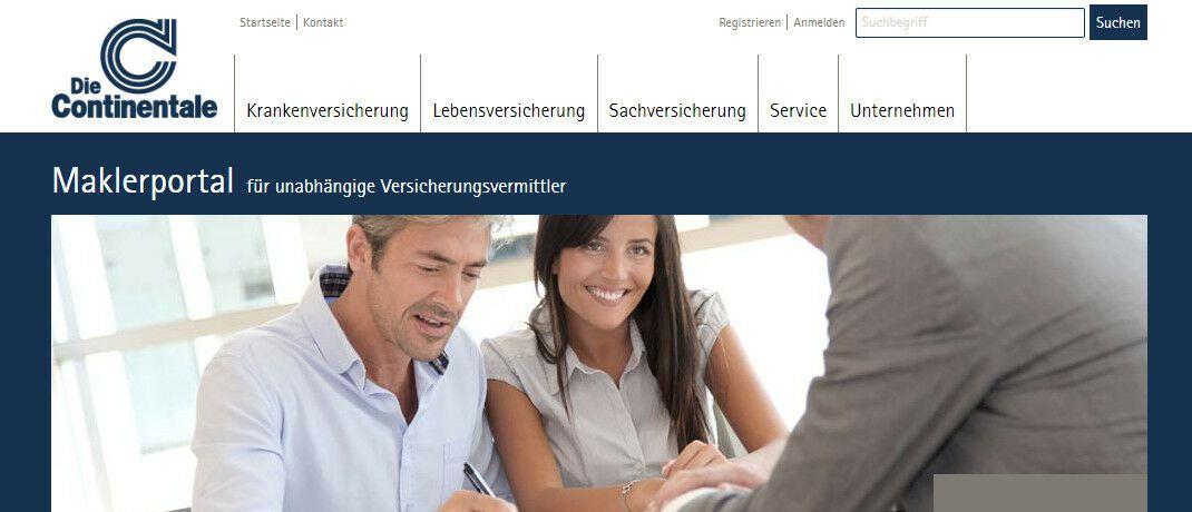 Screenshot des neuen Maklerportals: Die Continentale präsentiert sich unabhängigen Versicherungsvermittlern in neuem Design.