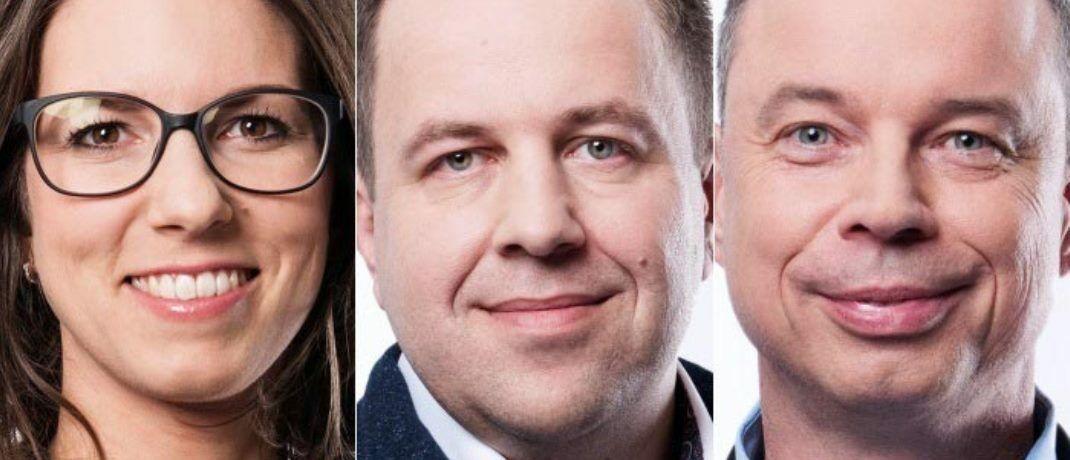Das Führungsgremium der Bank Frick: Finanzchefin Melanie Gstöhl (l.), Bankchef Edi Wögerer und der für Business-Technologien und Innovationsmanagement zuständige Michael Dolzer. |© Bank Frick
