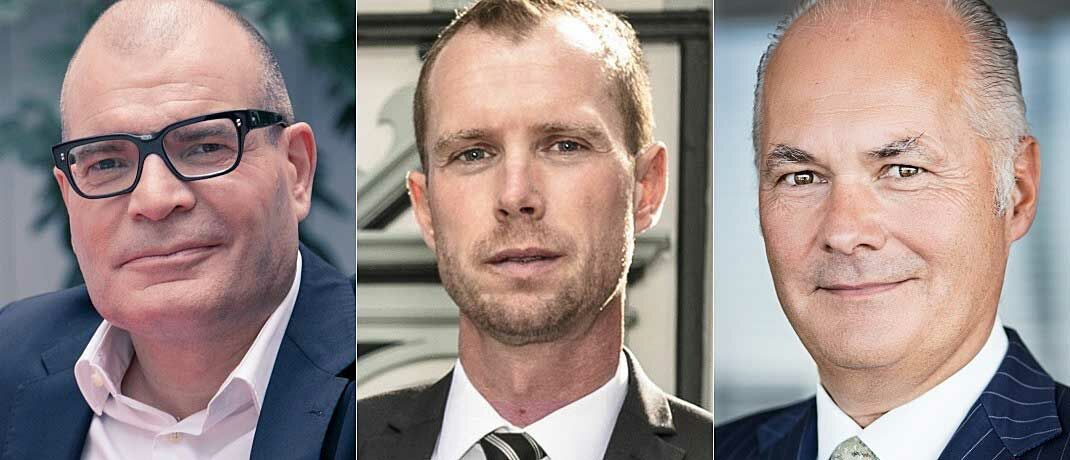 Martin Stürner (l.), Vorstandsvorsitzender von PEH Wertpapier, Jörg Wiechmann (M.), Vorstand der Top Vermögensverwaltung und Kurt von Storch, Gründer und einer der Namensgeber von Flossbach von Storch.
