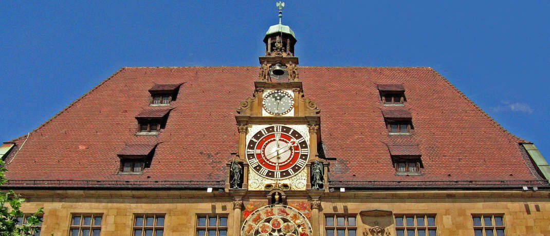 Rathaus von Heilbronn. Für die Stadt im Südwesten Deutschlands ist laut Postbank-Wohnatlas 2019 bis 2030 das höchste Kaufpreiswachstum zu erwarten.