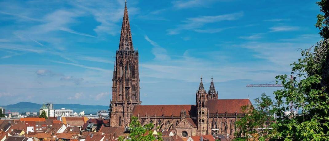 Freiburger Münster inmitten der Altstadt. Die Studentenhochburg punktet Bulwiengesa zufolge mit dem geringsten Marktrisiko unter den C-Städten.|© Couleur/Pixabay
