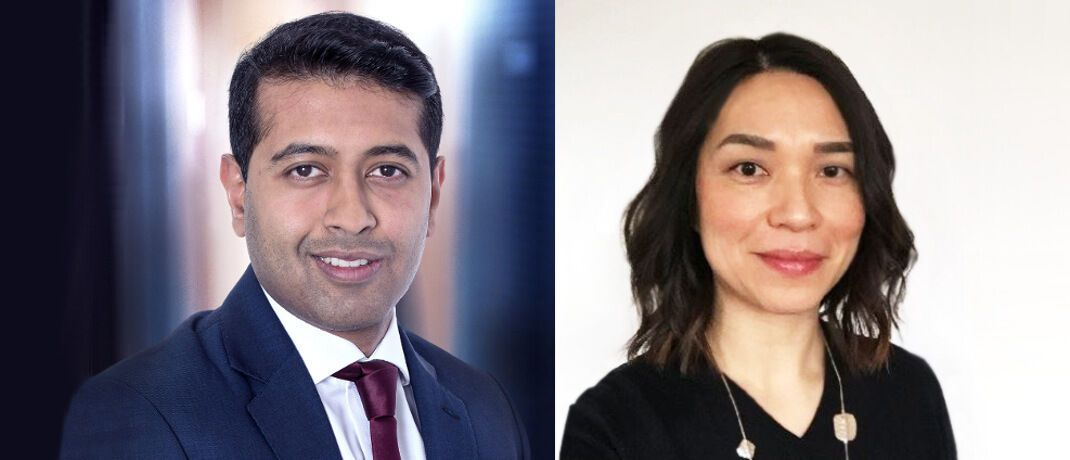 Suchen in fallenden Märkten die besten Investmentmöglichkeiten: Pras Jeyanandhan (l.), Co-Manager des Oyster European Opportunities, und Juliana Auger, Investment Specialist bei Syz Asset Management | © Syz Asset Management