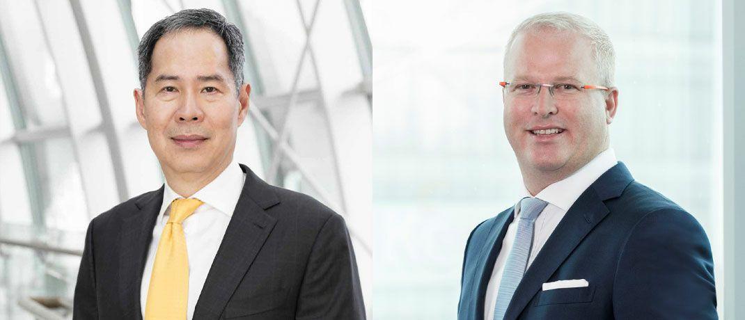 Geoffrey Wong, Chef für globale Schwellenländer und Aktien Asien Pazifik, und Hayden Briscoe, Renten-Chef für den asiatisch-pazifischen Raum, beide bei UBS Asset Management, sind überzeugt, dass die Indexeinbindung chinesischer Aktien und Anleihen die globalen Finanzmärkte nachhaltig verändern wird.|© UBS