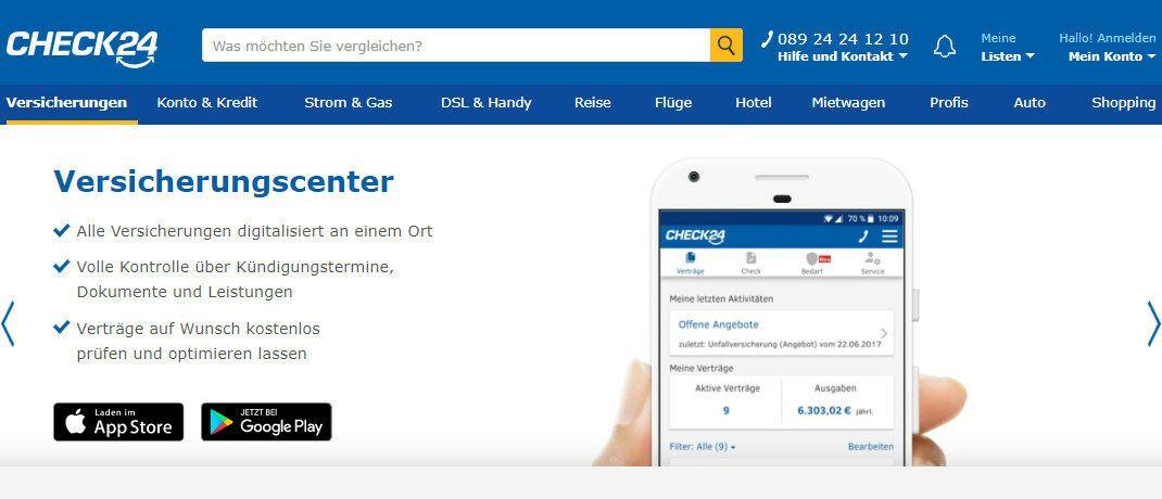 Screenshot der Check24-Internetseite: Die Betreiber des Vergleichsportals mussten nach einer Klage des Bundesverbands Deutscher Versicherungskaufleute (BVK) die sogenannte Erstinformation verbessern.|© CHECK24 Vergleichsportal GmbH