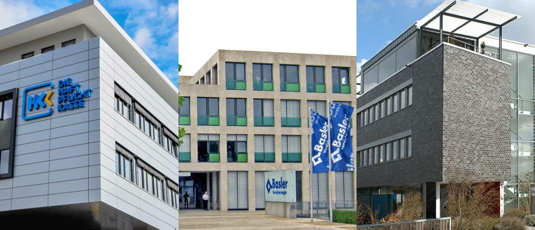 """Gebäude der drei Umfragesieger in Roßdorf bei Darmstadt, Bad Homburg und Wiesbaden (v.l.): Die Unfallversicherung ist laut der Vema """"ein echter Klassiker der persönlichen Risikovorsorge""""."""