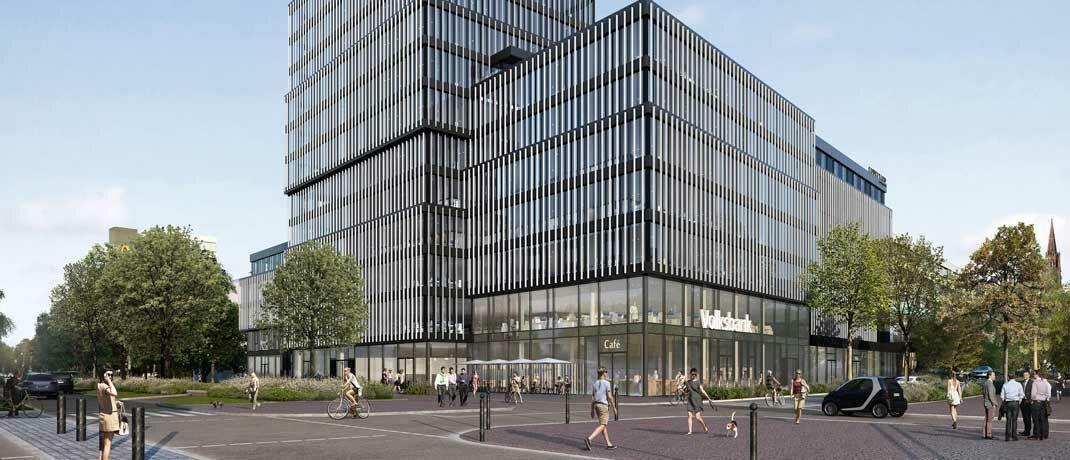Visualisierung des zukünftigen Areals der Volksbank Freiburg an der Bismarckallee. Die neuen Räumlichkeiten sollen 2021 fertig sein. |© Volksbank Freiburg