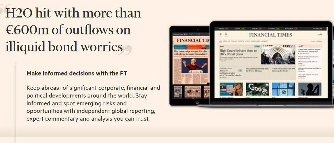 Screenshot des Online-Auftritts der Financial Times: Die Londoner Wirtschaftszeitung hat direkt nachgelegt in der Berichterstattung über angeblich illiquide Positionen im H2O-Fonds.