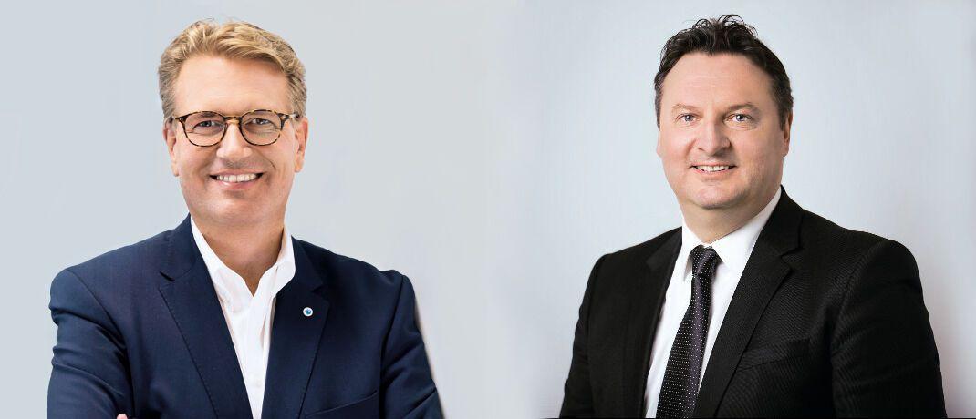 Martin Gräfer (links), Vorstand des Versicherers die Bayerische und Heiko Reddmann, Geschäftsführer bei Honorarkonzept, nennen ihre Argumente für beziehungsweise gegen Provisionen im Versicherungsvertrieb.