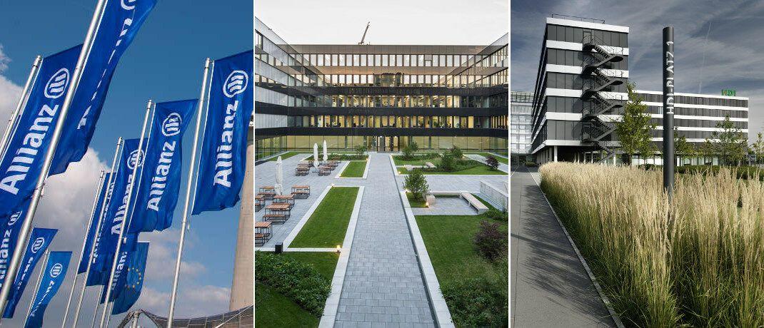 Flaggen und Gebäude der drei größten deutschen Versicherungsgruppen Allianz, Münchner Rück und Talanx