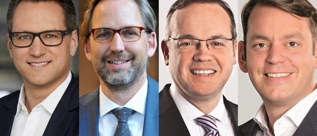 Sebastian Grabmaier (JDC), Martin Klein (Votum), Frank Rottenbacher (AfW) und Martin Steinmeyer (Netfonds), v. li.: Branchenvertreter haben sich jetzt zu den neuen Bestimmungen für den Finanzvertrieb geäußert.