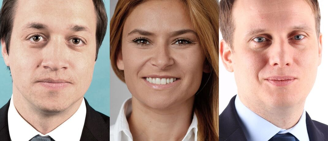 Drei neue Spezialisten im Vertrieb von Amundi: Thomas Wiedenmann, Aysun Cifci und Dirk Auersperg (v. li.). © Amundi