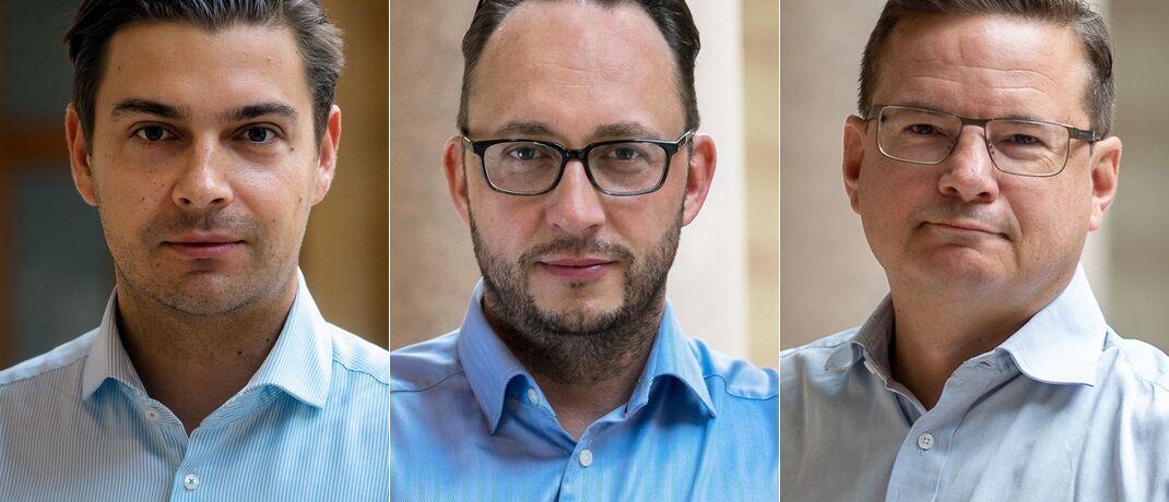 Alexander Rapatz (l.) und Christian Platzer sind die Gründer von Black Manta Capital Partners. Martin Steininger leitet den neuen Deutschland-Standort des Blockchain-Unternehmens.|© BMCP