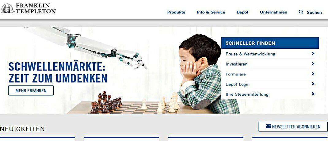 Screenshot der deutschen Internetseite von Franklin Templeton. Die Gesellschaft kündigte an, einen beliebten Wandelanleihenfondsfür Neuanleger schließen zu wollen.|© Franklin Templeton