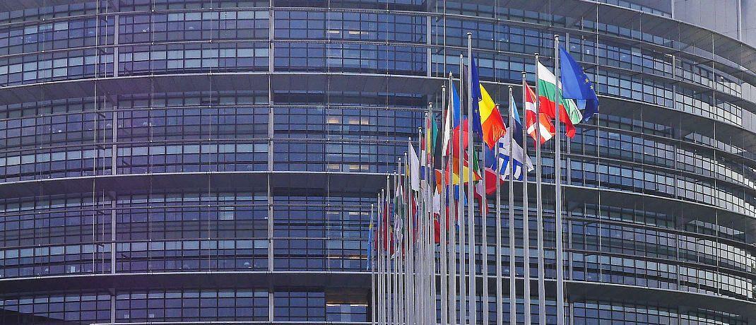Flaggen vor dem Europaparlament in Straßburg: Die europäische Richtlinie Mifid II steht in der Finanzbranche in der Kritik.|© Pixabay